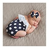 Mummyhug Baby Polka Dot Romper Headband Pearl Bracelet Set Newborn Outfits Photography Props Costume for 6-12 Month [2018 (Black)