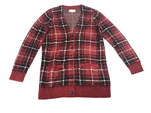 Ralph Lauren Denim & Supply Women's Plaid Boyfriend Cardigan (Red, Medium)