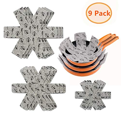 Pot & Pan Protectors - Gray Print Set of 9, Large/15, Medium/14 & Small/10 - Divider Pads to Prevent Scratching, Separate and Protect Surfaces of Your Cookware