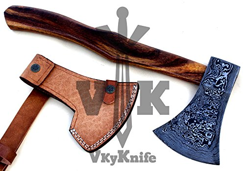 Handmade Damascus Steel Axe Hatchet Tomahawk Knife - 17 Inches Rose Wood Handle JNR9062 by JNR TRADERS (Image #1)