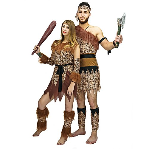 Halloween Costumes Scary Caveman And Woman Party Costumes Adult Tarzan (L, Women) (Scary Couples Costume)