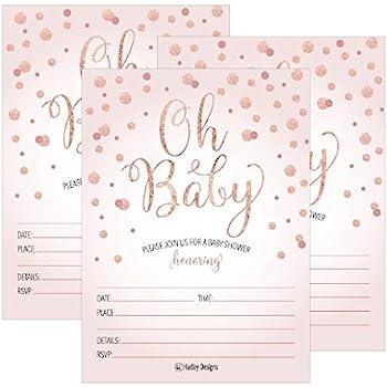Amazon 25 blush rose gold girl oh baby shower invitations cute 25 blush rose gold girl oh baby shower invitations cute princess printed fill or write filmwisefo