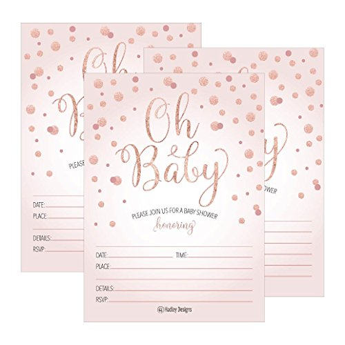 25 Blush Rose Gold Girl Oh Baby Shower Invitations, Cute Princess Printed Fill or Write in Blank Invite, Printable Shabby Chic Unique Custom Vintage Coed Twin Sprinkle Party Card Stock ()