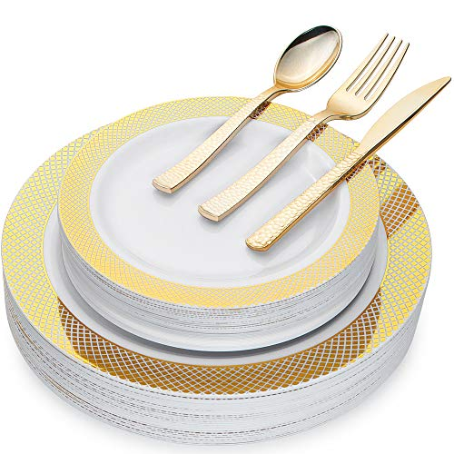 - Disposable Plastic Dinnerware Set GOLD - Elegant 150 Piece Collection for Birthday Party Catering Wedding Events - 30 of each Dinner 10.25
