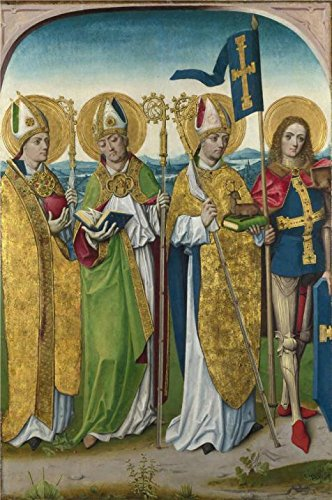 Oil Painting 'Master Of The Life Of The Virgin-Saints Augustine, Hubert, Ludger And Gereon,probably 1485-90' Printing On High Quality Polyster Canvas , 20x30 Inch / 51x76 Cm ,the Best Basement Decoration And Home Decor And Gifts Is This Amazing Art Decorative Canvas