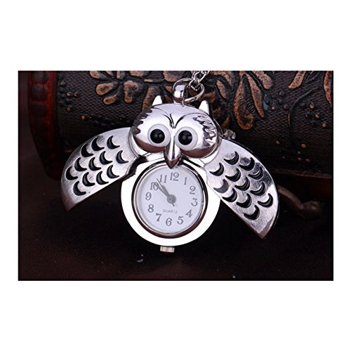 S&E Mifine Owl Antique Style Delicate Pocket Watch Vintage Necklace Pendant Watches