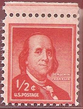 Stamp United States Benjamin Franklin Half Cent Scott 1030
