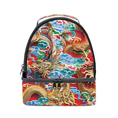 bolsa de Dragon Cooler Bandolera picnic doble chino ajustable asiático almuerzo correa vintage para 4qxw58EwS