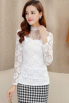 Ten is Hear Ladies Blouse Tops Long Sleeve Lace Formal See-Through Floral Thin Mesh Mock Neck