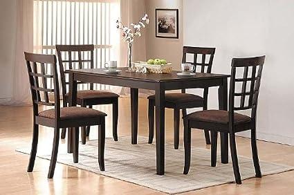 Amazon.com - 5 Pc Espresso Finish Dining Room Table Set - Table ...
