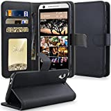 HTC Desire 626 Case, HTC Desire 626s Case , Tauri [Kickstand] Luxury Wallet Leather Case Flip Cover For HTC Desire 626 / 626s - Black