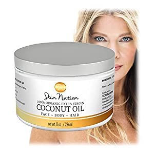 Organic Extra Virgin Coconut Oil for Face, Body and Hair - Skin Nation by Michelle Stafford, Pure, Unrefined, Cold Pressed Coconut Oil, Best Coconut Oil for Hair, Pure Coconut Oil for Skin Face