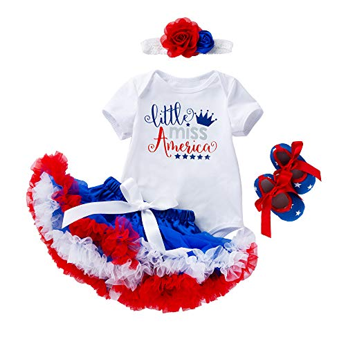 WINZIK 4th of July Baby Girl 4Pcs Tutu Skirt Outfit Set Romper Bodysuit Headband Shoes Independence Day Garment Party Costume (Tag 80 for 12-24M, Little Miss America)]()
