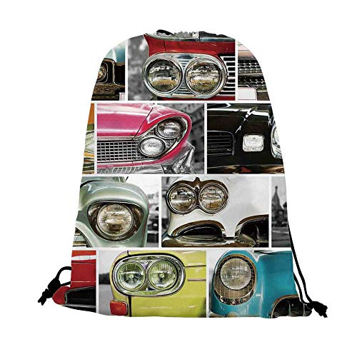 1960s Decorations Nice Drawstring Bag,Classic Cars Retro Automobile Collage Bumper and Headlights Classic Old Style City Vehicle Decorative For traveling,17.7