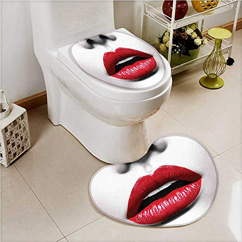 aolankaili 2 Piece Toilet lid Cover mat Set Cosmetic Lipstick inAlluring Color of Model Lips White and Light Grey Soft Shaggy Non Slip