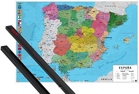 1art1 Mapas Póster (91x61 cm) Mapa España Fisico Politico Y 1 Lote ...