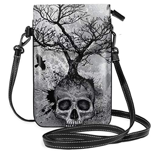Unisex Small Printed Smartphone Wallet Purse PU Leather For Phone Cards Lipsticks Cash Skull Tree Black Eagle Durable With Multi-Compartments And Credit Cards Slots Snap Closure (0 Balance Transfer And Purchases Credit Cards)