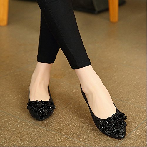 Meeshine Womens Wedding Flats Comfort Ballet Flats Shoes Black 03 AgdJl8
