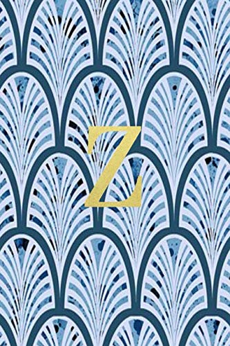 Z: Blue art deco print with gold lettering initial notebook - Art Deco Lettering