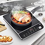 Portable Induction Cooktop, NWK 1800W Sensor Touch Electric Induction Cooker Cooktop with Kids Safety Lock, Countertop Burner with Timer and 10 Temperature Settings