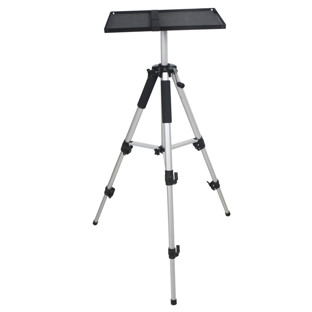 Drsn Universal Aluminum Tripod Projector Stand Laptop Tripod Stand Computer Laptop DJ Equipment Holder Mount Height Adjustable for Stage or Studio Use with Plate and Carrying Bag