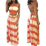 Chiffoned Sexy Crop Tops Long Skirt Women 2 Piece Set Summer Gradient Color Stripe Print Halter Bandage Casual Dress Orange L