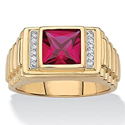 Men's 18K Yellow Gold over Sterling Silver Square Cut Red Ruby with Diamond Accent Ring
