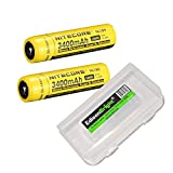 2 Pack NITECORE NL189 3400mAh Protected 18650 Rechargeable Li-ion Batteries with EdisonBright battery carry box- Designed for TM26 TM16 TM06 SRT7 SRT6 P25 EC25 TK75 PD35 PD32 TK22 M21X BT20 MH20 i4 and other High Drain Devices