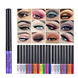 12 Colors Liquid Eyeliner Set, Elevin(TM) Metallic Shiny Smoky Eyes Eyeshadow Waterproof Glitter Liquid Eyeliner (1 Set)