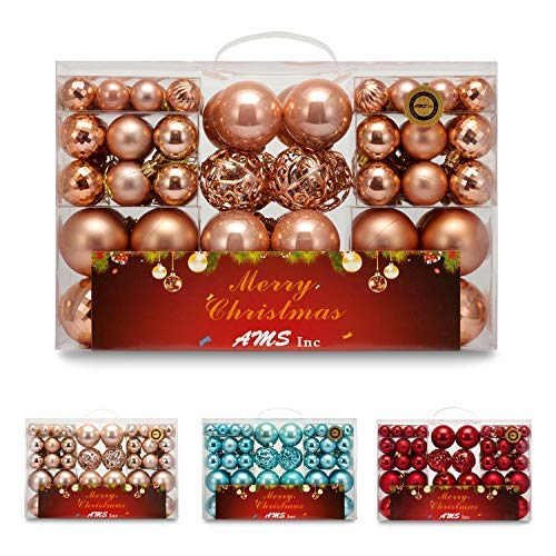 AMS 100-Pack Assorted Xmas Balls Shatterproof Christmas Ornaments Set with Reusable Hand-Help Gift Boxes (Rose Gold)