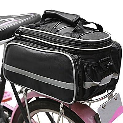 Bicycle Rear Seat Trunk Bag Handbag Bag Pannier, Bukm Waterproof Cycling Bike Rear Seat Rack Trunk Bag Carrying Luggage Handbag Panniers Black with Rainproof Cover