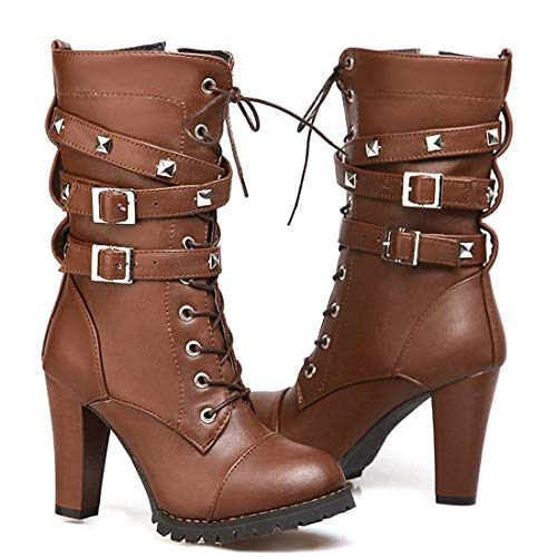 Susanny Women's Mid Calf Leather Boots Chic High Heel Lace Up Military Buckle Motorcycle Cowboy Brown Ankle Booties 10 B (M) US