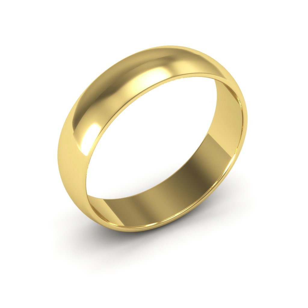 14K Yellow Gold men's and women's plain wedding bands 5mm light half round, 7.75 by i Wedding Band (Image #2)