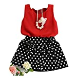 DaySeventh Girls Vest Pleated Two Pieces Cute Clothes Set Children Skirt (2-3 Years, Red) Reviews