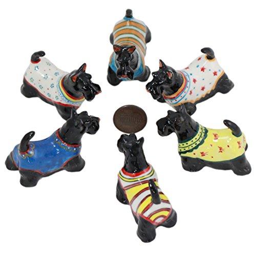 - 6 Black Scottish Terrier Dog Puppy Ceramic Pottery Animal Miniature Figurine Hand Painted