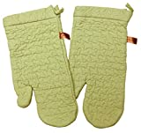 "Custom & Durable {14"" x 6.5"" Inch Each} 4 Set Pack of Mid Size ""Non-Slip"" Pot Holders Gloves Made of Cotton for Carrying Hot Dishes w/ Sage Green Quilted Classic Puzzle Pattern Style {Green}"
