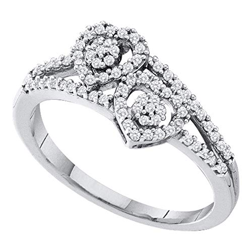 10k White Gold Diamond Double Heart Cluster Ring Fashion Band Cocktail Style 1/4 ct