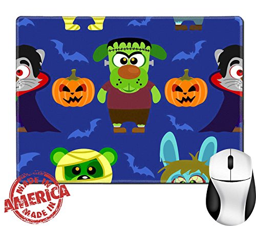 "Luxlady Natural Rubber Mouse Pad/Mat with Stitched Edges 9.8"" x 7.9"" IMAGE ID: 31870702 Seamless with animal in Halloween (Dracula Costume Images)"