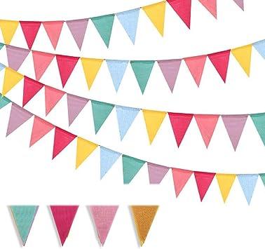 NETUME 48 Pcs Guirnalda Banderas Banderines Imitación Arpillera Banner Triangulares Decoración Boda Fiesta Bautizo de Cumpleaños Navidad: Amazon.es: Juguetes y juegos