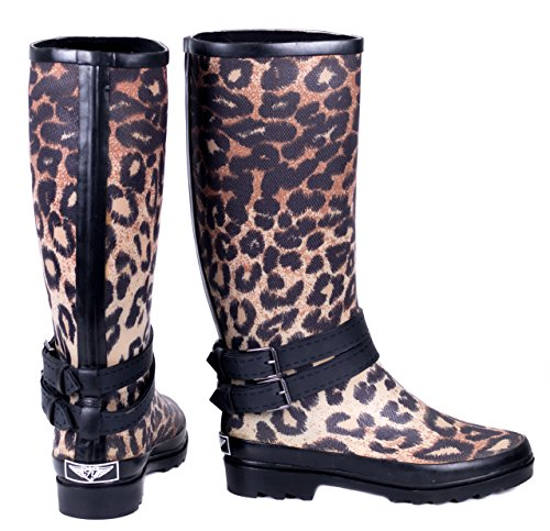 Young Women Rain Boots Couture Coated Rubber Leopard Forever dqEXwd