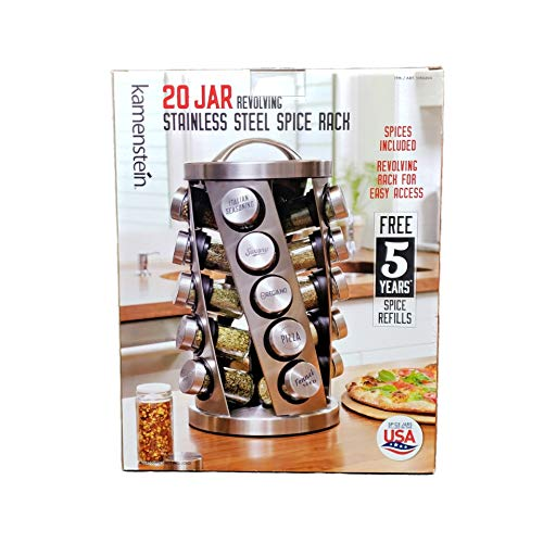 (Contemporary Spice Rack Stainless Steel 20 Jars Revolving Rack for Easy Access,Spices Included Plus Free 5 Years of Refills, Filled in USA)