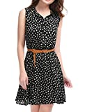 Allegra K Women's Half Placket Above Knee Printed Belted Sleeveless Dress