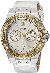 Guess Women's Quartz Stainless Steel & Leather Casual Watch, Color:white (Model: U0775l8)