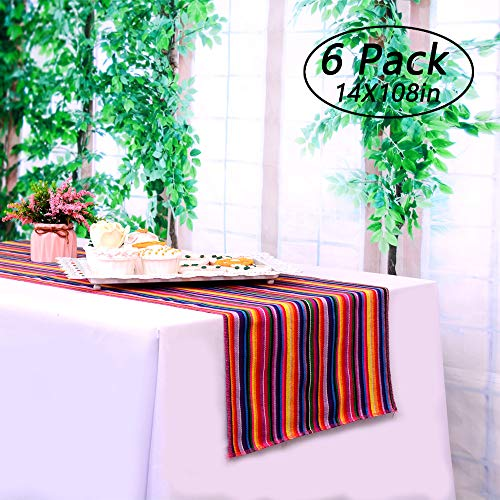 LGHome 6 Packs Mexican Serape Table Runners 14x108inch for Mexican Wedding Decoration Fringe Cotton Blanket Table Linens