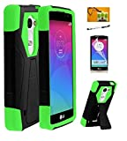 lg 1 ii - LG Power L22c (Tracfone / Net10) / LG Risio (Cricket) / LG Tribute 2 LS665 (BoostMobil), LF 4 in 1 Bundle, Hybrid Dual Layer Stealth Case with Stand, Lf Stylus Pen, Screen Protector & Droid Wiper Accessory (Stand Green)