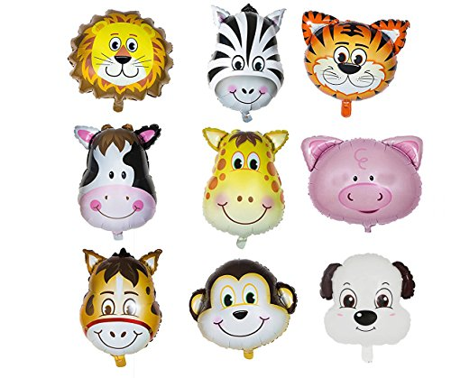 Animal Head Balloon Zoo kid Happy Birthday Party Set of 9 Pack Mylar Foil Helium Reusable Ballons 4 Congratulation Decoration Anniversary Festival Graduation Bouquet Gift Idea Celebration (Pack of 9)