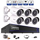 ISEEUSEE Weatherproof 8 Channel HD DVR Video Recording System HDMI Output 6 x 1500TVL Outdoor Night Vision 1080P Bullet Cameras Free APP CCTV Home Security Surveillance Kits Hard Drive Not Included