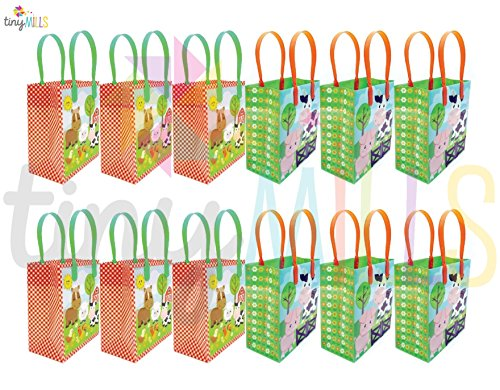 Barnyard Farm Animals Party Favor Treat Bags, 12 - Animals Barn Farm