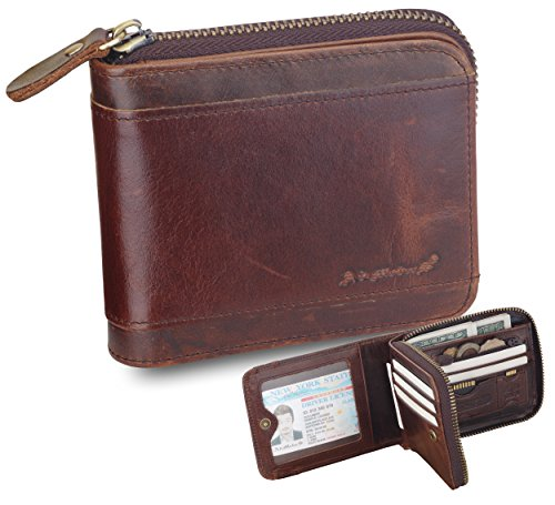 (Admetus Men Gifts Genuine Leather Short Zip Cowhide Wallet Credit Card ID Purses 9)