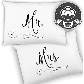 Amazon Hortense B Hewitt Wedding Accessories Mr And Mrs Right Pillowcases Set Of 2